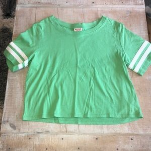 target lightish green cropped juniors t-shirt.